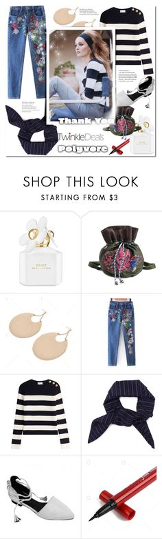"""""""Embroidered Jeans Denim Blue... Twinkledeals"""" by bellamonica ❤ liked on Polyvore featuring Marc Jacobs and RED Valentino"""