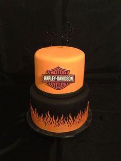Harley Davidson birthday cake-Brantley wants this one! Fondant Cookies, Cupcakes, Cupcake Cakes, Bolo Harley Davidson, Harley Davidson Birthday, Motorcycle Cake, Motorcycle Birthday, 40th Birthday Cakes, 3rd Birthday