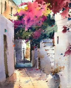 Similar subject but in a different paper 😀🎨. Watercolor Architecture, Watercolor Landscape, Landscape Art, Landscape Paintings, Watercolor Canvas, Watercolor Artists, Watercolor Flowers, Watercolor Paintings, Watercolors