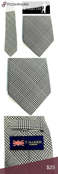 T. Harris London 100% Silk Houndstooth Plaid Tie This T. Harris London Black and off-white Houndstooth Plaid necktie is in excellent used condition.  Always in style, and made of 100% silk, you will feel proud wearing this debonaire classic. T. Harris London Accessories Ties