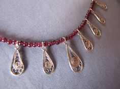 Handmade Sterling Silver 925 Necklace Garnet Stone by leylaks