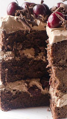 Chocolate Cherry Amaretto Cake I Cake Merchant Cupcakes, Cupcake Cakes, Cake Merchant, Just Desserts, Delicious Desserts, Cake Recipes, Dessert Recipes, Kolaci I Torte, Chocolate Desserts