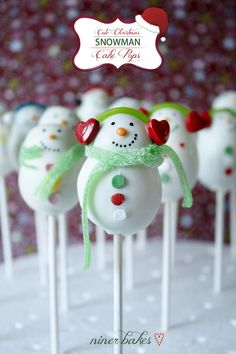 Christmas Snowman Cake Pops with scarves & earmuffs :-)
