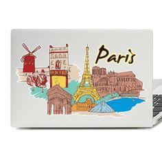Paris Illustration Laptop Skin Sticker Paris Illustration, Laptop Stickers, Laptop Skin, Vinyl Decals