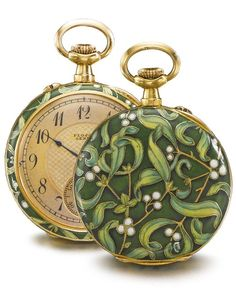 Plojoux, Genève - AN ART NOUVEAU 18K YELLOW GOLD AND ENAMEL OPEN-FACED WATCH WITH MISTLETOE MOTIF CIRCA 1910. • Jewelled gilt lever movement, signed and numbered cuvette • gilt dial with engine-turned center, Arabic numerals, blued steel hands, subsidiary seconds • champlevé enamel case with green and white mistletoe motif • dial and cuvette signed. #PlojouxGeneve #ArtNouveau #watch