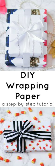 Learn how to make custom gift wrap for any holiday or event with this easy DIY wrapping paper tutorial from @ashleynicholas featuring the new Sprout computer by @HP! | #GoMakeThings #SproutByHP