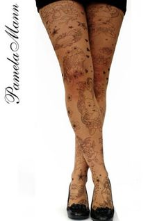 Tattoo Hearts Tights-Tights MyTights.com - The Online Hosiery Store