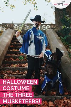 Need ideas for a Halloween Family Costume With Dogs? This Three Musketeers costume is perfect for a dog mom with two fur babies! Mom Costumes, Family Halloween Costumes, Dog Halloween, Couple Costumes, Costume Ideas, Musketeer Costume, Me And My Dog, Costume Works, Funny Dog Pictures