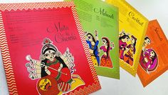 This card has been inspired from the Madhubani art style from Bihar, blended with Rajasthani stamp miniatures, it is our take on contemporary Indian art.The envelope is screen printed in gold on brown paper with a variety of patterns. The wedding seal i…