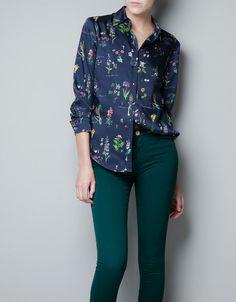 BLUSA ESTAMPADA APLIQUES CUELLO - Camisas - Mujer - ZARA Estados Unidos de América