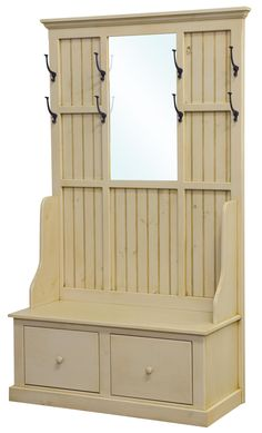 Cream colored hall tree with coat hooks and bead board would look very coastal and fresh in your mud room.