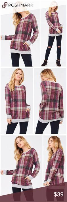 PREORDER Wine Tartan Soft Sweater A cozy tartan inspired plaid sweater featuring a round neck. Fabric is soft and comfortable. Sweaters