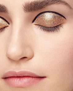 When your eye look is (🏆, ⭐️, ✨) #ad  Look gold and bold this month by experimenting with a metallic shadow on your lids and then topping them off with a little glitter.  Photographed by @nickeucker #R29xRevlon #chooselove