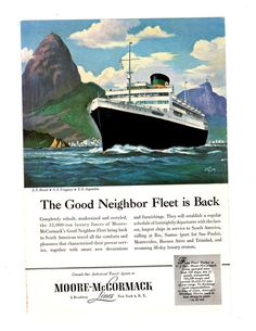 Vintage Moore McCormack Cruise Advertisement by burstsofcreativity