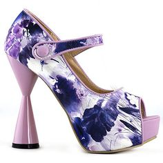 5916ad160a3 DROPKICKS STOCK ITEM  LF40811 Blue Chinese Ink Painting Floral Print  Platform Mary Jane Cone Heel Pumps