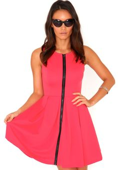 Eudora Zip Front Skater Dress In Coral