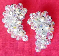 Silver-tone AB Crystal Comma Wing Shaped Clip On Earrings Marked LAGUNA #Laguna #Cluster