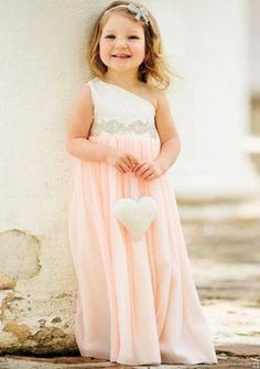 Lovely Sleeveless One Shoudler A-line Chiffon Flower Girl Dress with Beading Waist