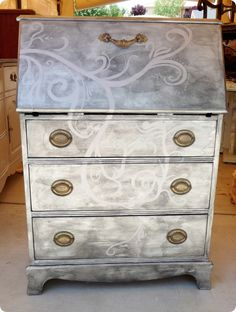 Scroll design painted on secretary, not crazy about the silver on silver, but I love this look!