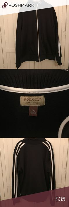 SALE! Sonoma Life+Style Warmup Jacket Sonoma Life+Style warmup jacket in black with white stripes down the arms. Jacket has never been worn and still has the original tag. Jacket is size XXL and 100% polyester. Sonoma Jackets & Coats Lightweight & Shirt Jackets