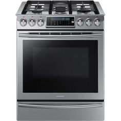 Samsung 30 in. 5.8 cu. ft. Slide-In Gas Range with Self Cleaning Convection Oven in Stainless Steel-NX58H9500WS at The Home Depot