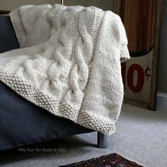 """""""Like a Sweater"""" Blanket / Throw knitting pattern by Fifty Four Ten Studio - Cables & Super Bulky yarn"""