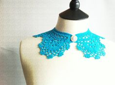 Turquoise Crochet Collar with a Vintage Button by elifel on Etsy, £15.00