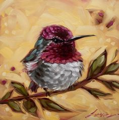 "Hummingbird painting, 6x6"" original impressionistic oil painting of a Hummingbird on a branch. Bird paintings, paintings of hummingbirds"