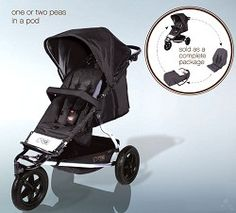MyStrollers.com - Mountain Buggy Plus One Buggy Black Includes Second Seat + Cocoon