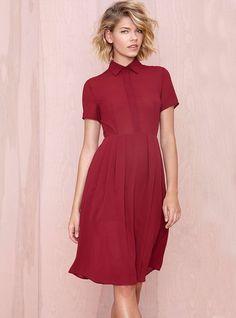 Red Short Sleeve Lapel Zipper Pleated Dress