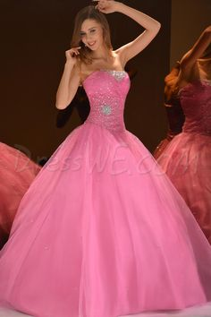 Brilliant Ball Gown Strapless Floor-Length Beading Quinceaner Dress