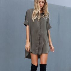 shirt dress and over the knee boots