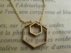 Hexagon necklace brass geometric shapes by littlepancakes on Etsy, $28.00