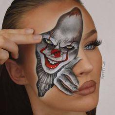 Clown and vampire you wantted 🧛🏻♀️👻🤡😍❤️⚡! Makeup On Fleek, Insta Makeup, Clown Makeup, Halloween Face Makeup, Famous Clowns, Pix Art, Face Paint Makeup, Maquillaje Halloween, Make Up Art