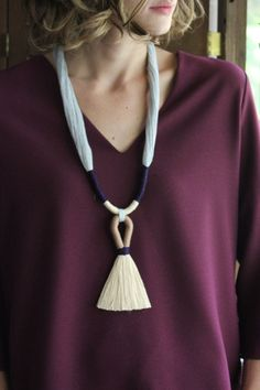 Cybele Necklace / Fiber Jewelry / Tassel