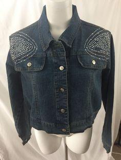 Zoey Beth Denim Cropped Jean Jacket Embellished Plus Size 3X #ZoeyBeth #JeanJacket #Casual