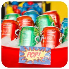 Pop at a superhero birthday party! See more party ideas at CatchMyParty.com!