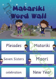 Matariki Word Wall Vocabulary