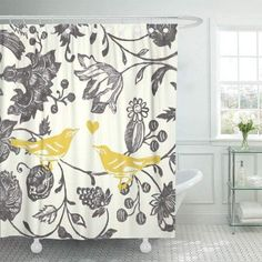 #BathroomDecorSets Fall Shower Curtain, Farmhouse Shower Curtain, Yellow Shower Curtains, Modern Shower Curtains, Floral Curtains, Bathroom Shower Curtains, Bird Bathroom, Bathroom Decor Sets, Bathroom Ideas