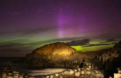 The Northern Lights over The Giants Causeway on the north coast, Northern Ireland. Totally Cosmic!!!