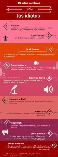 10 citas célebres sobre los idiotas. #infografia
