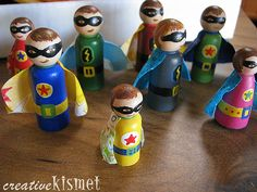 super hero peg people - We already have a family of woodland gnomes. Super heroes seem the next natural step. - what a great idea to make for our Survivors!!!