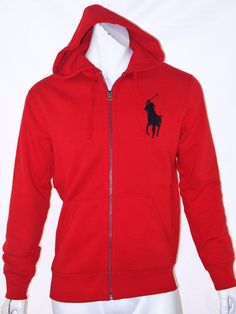 Ralph Lauren Polo Men Mesh Long Sleeved Darkred Hoody