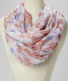 Take a look at this Pink	Floral Infinity Scarf by fantas-eyes on #zulily today! $10 !!