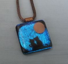 Blue Glass Kitty Pendant Dichroic Glass Cat Pendant by GlassCat