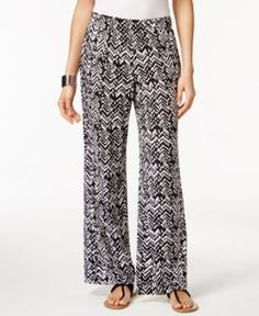 Ny Collection Petite Printed Wide-Leg Soft Pants - Black P/XS