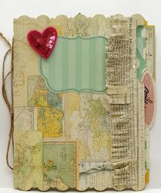 Memory File with materials from Heidi Swapp Scrapbook Journal, Scrapbook Albums, Scrapbooking Layouts, Handmade Journals, Handmade Books, Book Making, Card Making, Map Collage, Journaling