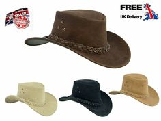 Australian western style hat Made with premium Quality real suede leather Beautiful plain braided band Grommets in crown for ventilation ensures breath-ability Colour: Chocolate Brown, Black, Camel and Beige Free chin strap (Removable) Smooth Leather, Real Leather, Suede Leather, Leather Cowboy Hats, Leather Gloves, Motorbike Jackets, Braids Band, Western Style, Hat Making