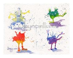 Fun Monsters Splashies  Original Art Print  8 x10 by Jayneart, $14.00