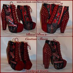 Deadpool Block Heel Spiked Boots by BecciBoosCustomShoes on Etsy https://www.etsy.com/listing/194237501/deadpool-block-heel-spiked-boots